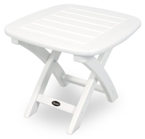 Polywood Traditional Deck - Trex Outdoor Furniture Yacht Club Side Table, 21-Inch by 18-Inch, Classic White