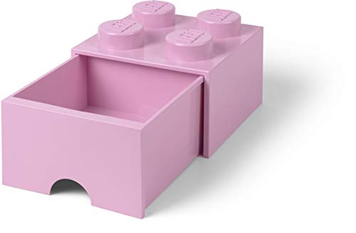 LEGO Brick Drawer, 4 Knobs, 1 Drawer, Stackable Storage Box, Light Pink