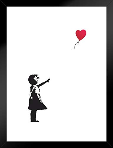 Pyramid America Banksy Balloon Girl Red Heart Graffiti Matted Framed Wall Art Print 20x26 inch (Child Framed)