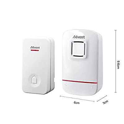 Advent Wireless Doorbell Self-Powered No Battery Required for Transmitter & Receiver, Plug-In Door Chime Kit with Molded Plastic Cover