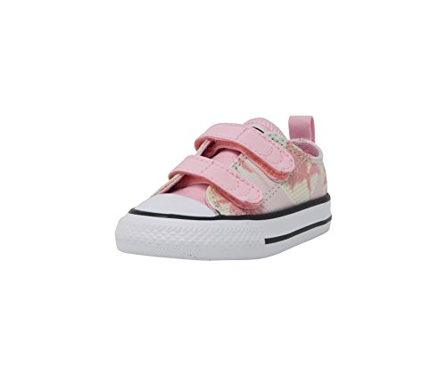 Converse Kids' Chuck Taylor All Star 2V Palm Trees Low Top Sneaker, Barely Green/Cherry Blossom, 7 M US Toddler (Converse Shoes Toddler)