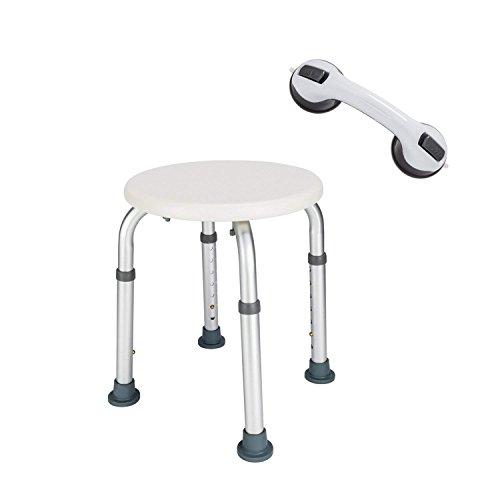Azadx Shower Chair, Adjustable Bath Stool with Free Assist Grab Bar - Medical Tool Free Anti-Slip Bench Bathtub Stool Seat with Durable Aluminum Legs for Elderly, Senior, Handicap & -