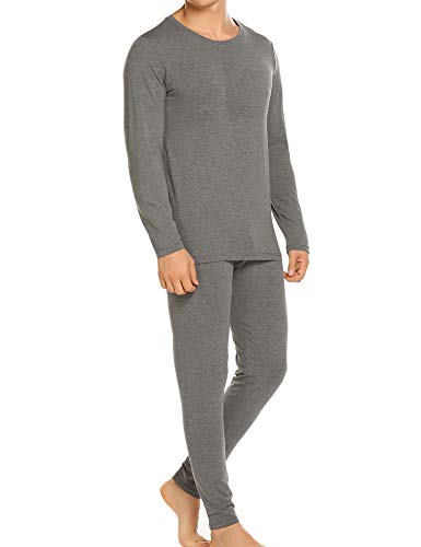 Ekouaer Long Sleeve Tops&Fleece Lined Pants Winter Thermal for Mens Long Underwear (Gray,Medium) (Best Thermal Cycling Tops)