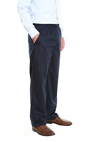 Elastic Button Waist (Pembrook Men's Elastic Waist Casual Pants Twill Pants with Zipper and Button - XL - Navy)