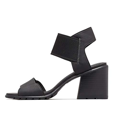 Sorel - Women's Nadia Sandals Open Toe Sandals with Ankle Strap and Heel, Full-Grain Leather, Black, 8.5 M US