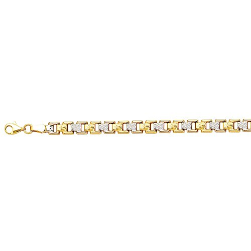 (14k Yellow and White Gold Two-tone Fancy Stampato Bracelet - 7.50 Inch )