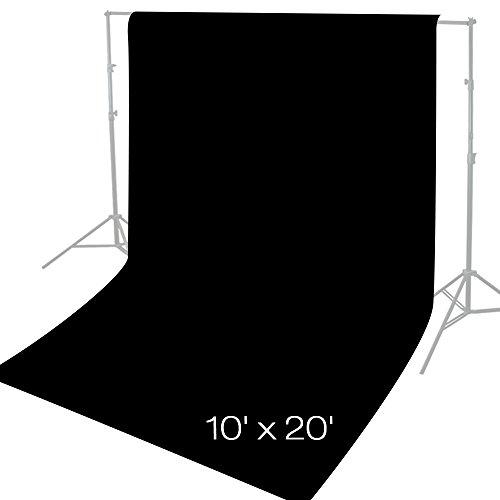 Julius Studio 10 x 20 ft. Photo Video Studio Seamless Solid Black Muslin Backdrop Photo Studio Background, JSAG276 by Julius Studio