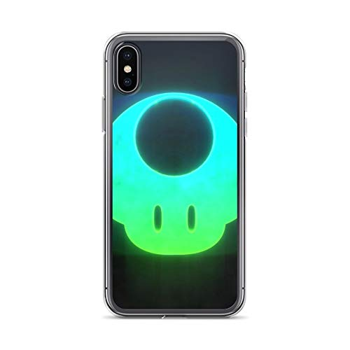 (iPhone X/XS Case Anti-Scratch Gamer Video Game Transparent Cases Cover Mushroom Gaming Computer Crystal Clear)