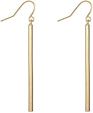 Jewelry Geometric earrings Copper thread through earrings Dangle earrings Gift for her