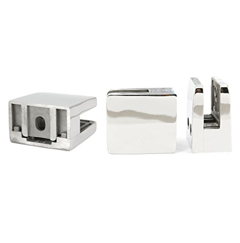 Stainless Steel 316 Grade Square Flat Back Glass Clamp 55 x 55 mm for 3/8'' or 1/2'' Laminated Glass, Mirror Finish, 4-Pack (GC-056M) by Top Hardware (Image #4)
