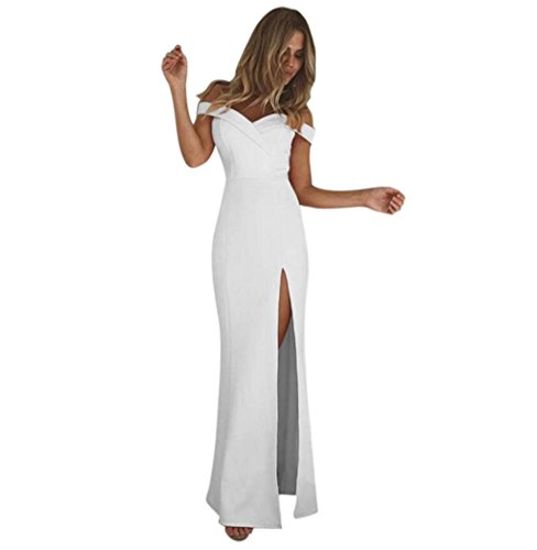 TOOPOOT Wome Maxi Dress, Women Long Sleeve Loose Off Shoulder Classy Long Casual Dress (Size:XL, White)