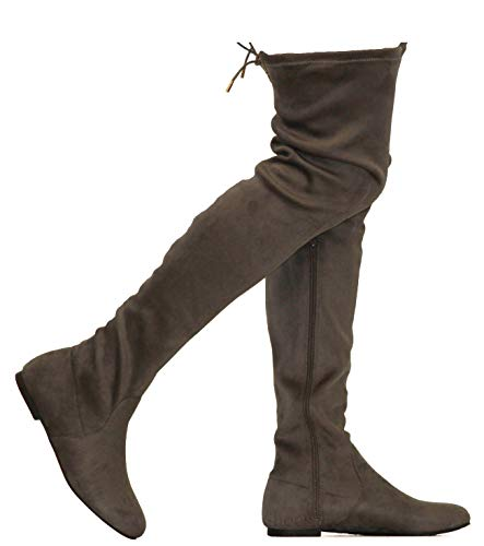 MVE Shoes Womens Fashionable Flat Over The Knee Boots - Comfortable Suede Adjustable Boots, Grey Suede 8.5