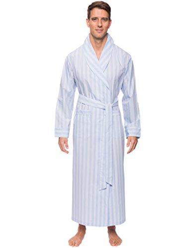 Noble Mount Men's Cotton Long Robe - Stripes Chambray Blue - L/XL