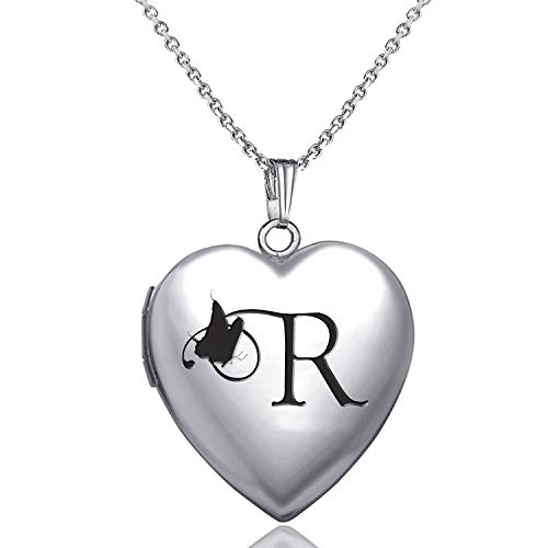 MUERDOU Locket Necklace That Holds Pictures Initial Alphabet Letter Heart Shaped Photo Memory Locket Pendant Necklace (R)