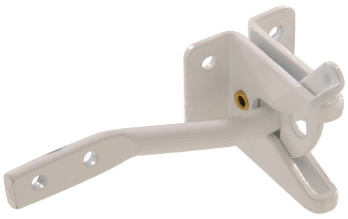 White Gate Fence Latch - The Hillman Group 852756 Automatic Gate Latch - White Finish 1-Pack