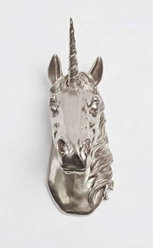 White Faux Taxidermy The Bayer in Silver - Magical Metallic-silver Unicorn Head Unicorn Wall Mount Art - Unicorn Sculpture ()