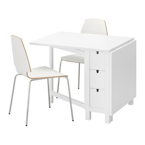 Ikea Table and 2 chairs, white, white 8204.20517.26