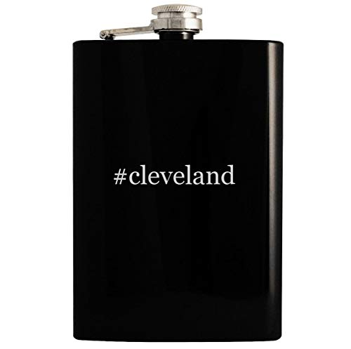 - #cleveland - 8oz Hashtag Hip Drinking Alcohol Flask, Black