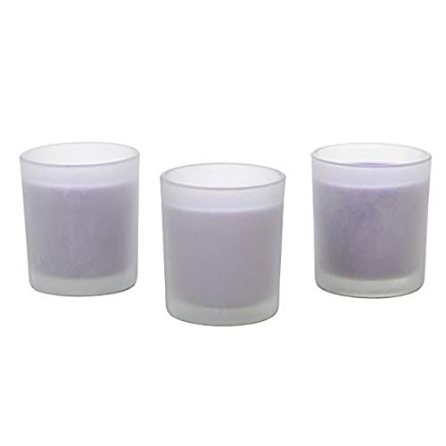 Hosley Aromatherapy Set of 3, Lavender Scented Large Frosted White Glass Survival Wax Filled Votive Candles, 3 High, 4 oz Each,up to 72 Hour Burn Gift for Wedding, Party, SPA, Zen, Reiki O3