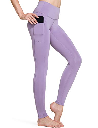 TSLA Yoga Pants Leggings Mid-Waist/High-Waist Tummy Control w Side/Hidden Pocket Series, Aerisupport Pocket(fgp54) - Lavender, Small [Size 6-8_Hip37-39 Inch]
