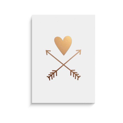"""Lucy Darling Gold Heart and Arrows Wall Decor, White Print, 8"""" x 10"""""""
