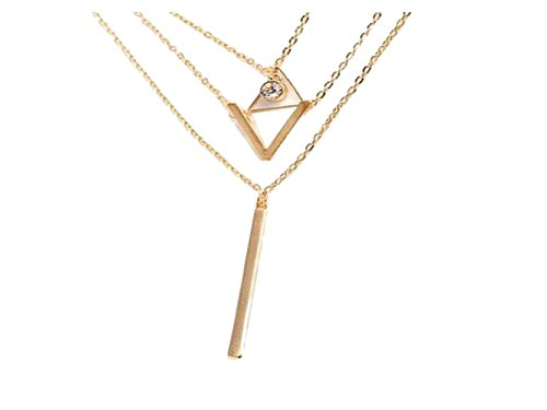 Marijuana Bling Watch (Women Retro Wedding Jewelry Triangular Tassels Geometry Multilayer Pendant Chian Bar Alloy Sweater Necklace)