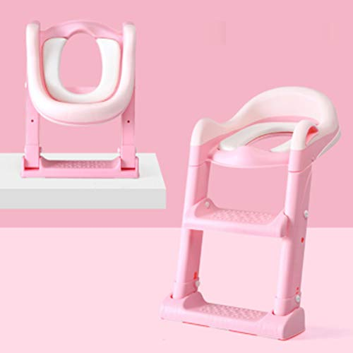Potty Toilet Seat Adjustable Baby Toddler Kid Toilet Trainer with Step Stool Ladder for Boy and Girl,Red