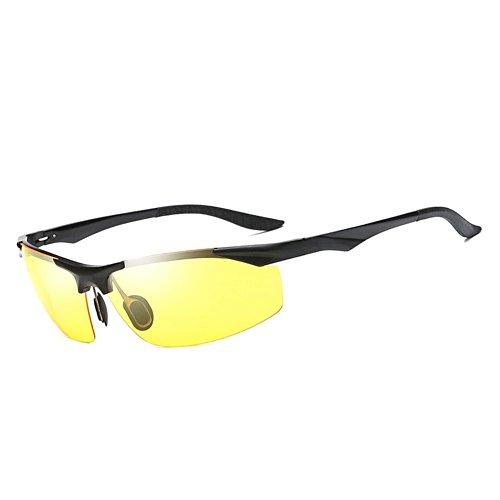 Glazata Men's Driving Polarized Sunglasses Al-Mg Metal Frame Night Vision Goggles Anti-glare - Best Face Sunglasses For Rectangular