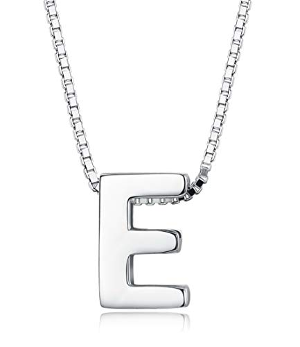 (Sllaiss Tiny Initial Letter Pendant Necklace Men Women 925 Sterling Silver A-Z Charm Necklace Alphabet Name Jewelry)