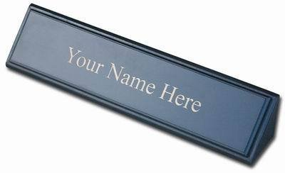 Dacasso School Office Boardroom Meeting Table Top Accessories Blackwood And Leather Name Plate
