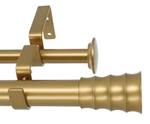 Meriville 1-Inch Diameter Oakley Telescoping Double Window Treatment Curtain Rod, 84-Inch to 120-Inch, Royal Gold