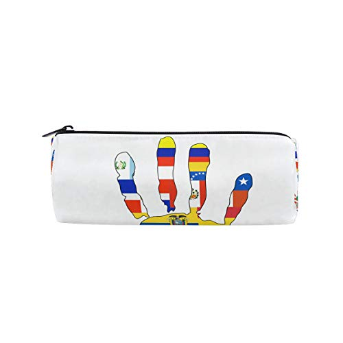 IMOBABY Mexican Culture Clipart Pattern Cylinder Pencil Pouch for Kids, Multi-Functional School Pencil Bags with Zipper for School Girls Boys ()