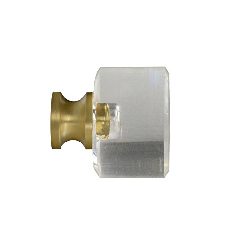 #G-100 CKP Brand Elegance Glass Collection 1-1/8 in. (29mm) Clear Glass Knob with Satin Brass Base - 10 Pack by CKP (Image #3)