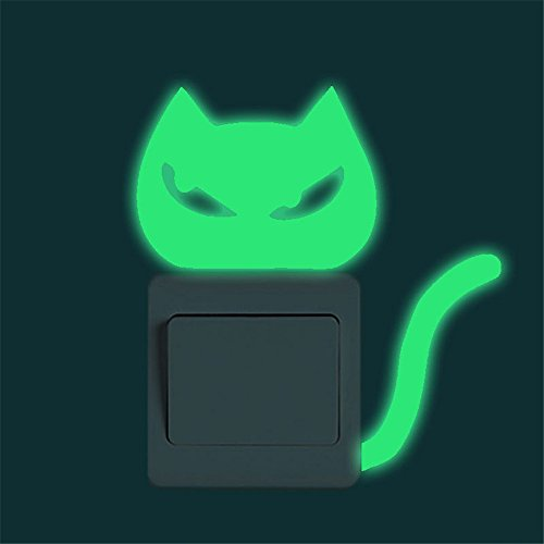 m·kvfa Cartoon Switch Wall Sticker Luminous Creative Cute Kitten Funny Cat Noctilucent Glow Light Switch Decal Art Wall Mural for Baby Nursery Room Home Decor (C)