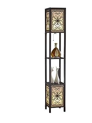 "Artiva USA A808102DEX Infinity Heart Shelf Floor Lamp, 64"", Expresso"