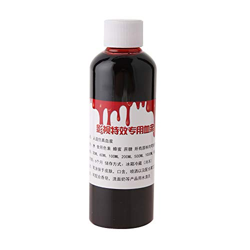 Fake Blood,Professional Realistic Halloween Wound Scars Bruises Zombie Vampire Fancy Face Body Paint Oil Costume Makeup Blood(100ml) -