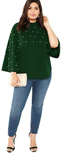 Romwe Women's Plus Elegant Pearls Beaded Long Sleeve Blouse Top