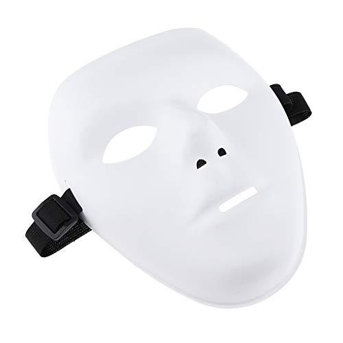 SM SunniMix White Face Horror Mask Cosplay Jabbawockeez Scary Masks Hiphop Halloween - White, as described ()