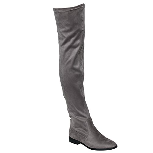 BESTON FM32 Womens Stretchy Snug Fit Over Knee High Pull On Block Low Heel Boot