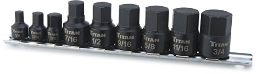 Titan Tools 16140 Low Profile Stubby SAE Hex Bit Socket Set - 9 Piece