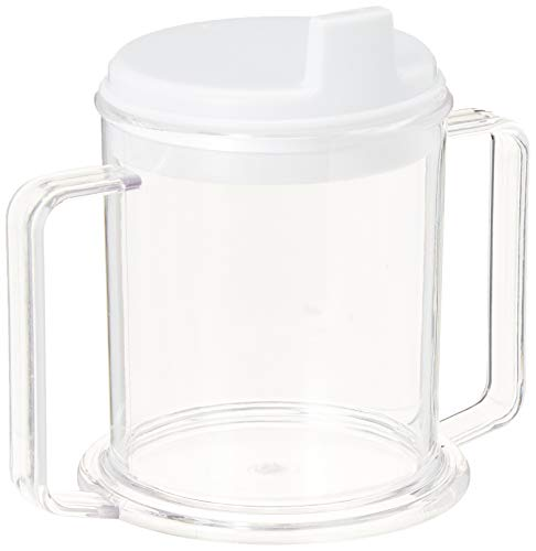 (Sammons Preston Transparent Mug with Two Handles, Strong Plastic Adult Sippy Cup with 2 Handles, Feeding Cup for Adults, Easy Lift & Secure Hold, Wide Base Stops Tipping, Includes Spouted Lid, 10 oz.)