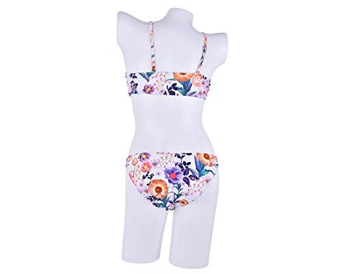 DSstyles Floral Laub Print Stehkragen Neckholder Bikini Set Floral Bikini Set Badeanzug Bathwwar - Weiß