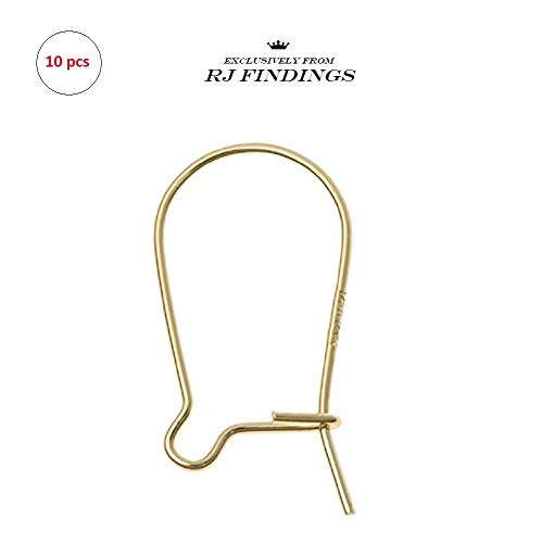 RJ Findings-10 Pieces 14K Gold Filled Kidney Earwire Ear Wire Earring - Hooks Kidney Wire Earring