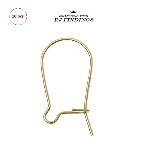 RJ Findings-10 Pieces 14K Gold Filled Kidney Earwire Ear Wire Earring Hook ()