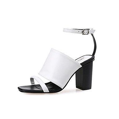 LvYuan Mujer-Tacón Robusto-Gladiador-Sandalias-Vestido / Casual-PU-Negro / Blanco / Negro y Blanco Black