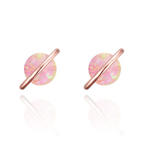 MUSTHAVE Planet 18K Rose/White/Yellow Gold Plated Opal Stud Earrings, White/Green/Pink Opal Earrings (Rose Gold)