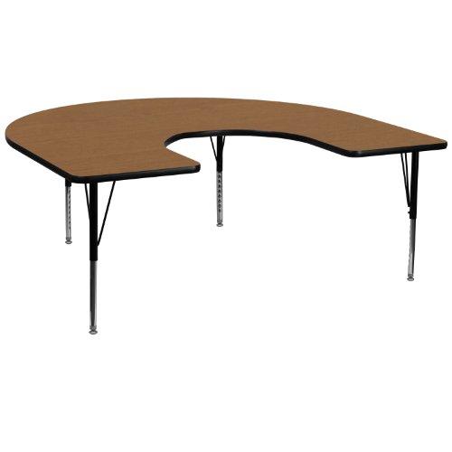 Flash Furniture 60''W x 66''L Horseshoe Oak Thermal Laminate Activity Table - Height Adjustable Short Legs