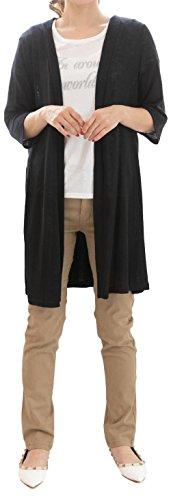 [スリーピングシープ] レディース 2型 (ハーフ丈 ロング丈) 3色(黒 白 グレー) 7分袖 サマー ニット ガウン カーディガン 無地 薄手