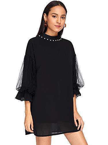 Verdusa Women's Elegant Beaded Mock Neck 3/4 Sleeve Chiffon Tunic Dress Black ()