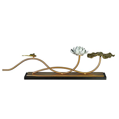KTYXDE New Chinese-Style Living Room Zen Model Room Copper Lotus Leaf TV Cabinet Porch Home Software Decoration 9.5x18x60.5cm Crafts Ornaments